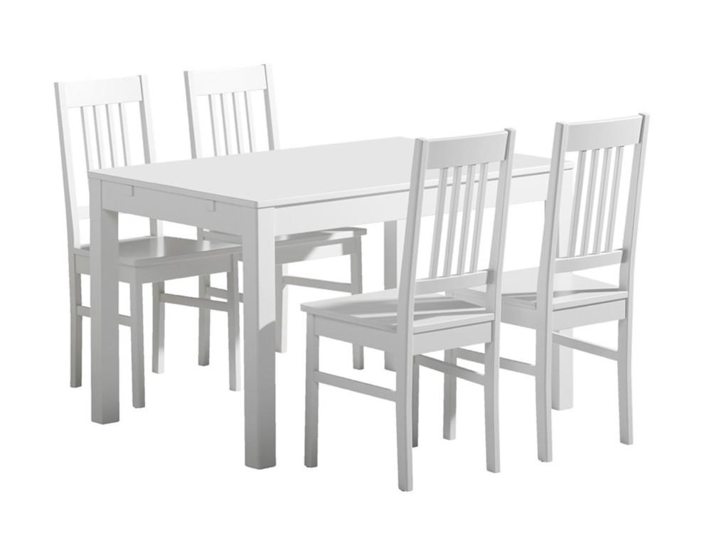 Emilia pöytä 120x80 + 4 tuolia valkoinen