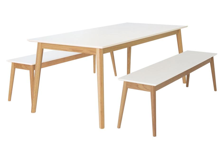 Eelis Pöytä 190cm ja 2 penkkiä 162cm valkoinen/tammi