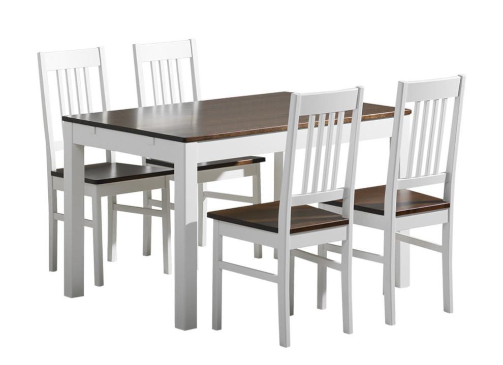 Emilia pöytä 120x80 + 4 tuolia valkoinen/ruskea