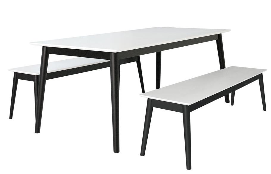 Eelis Pöytä 190cm ja 2 penkkiä 162cm valkoinen/musta