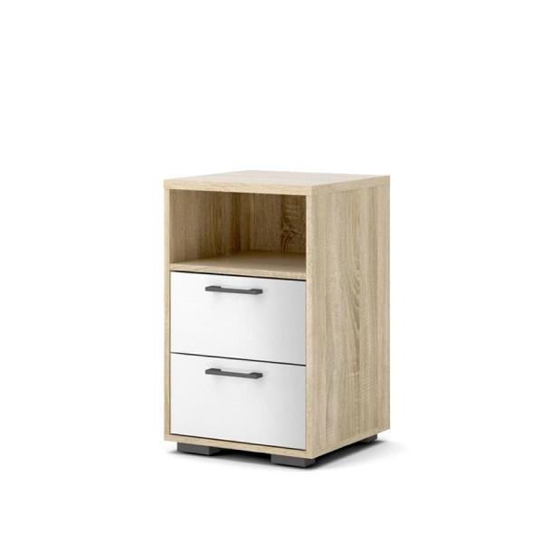 Homeline yöpöytä 2-laatikkoa+avo, tammi/korkeakiiltovalkoinen