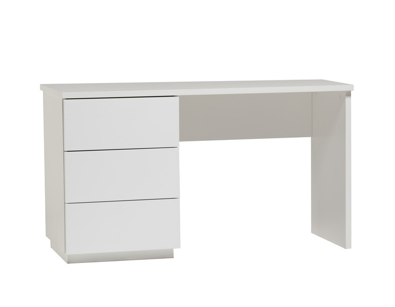 Anton työpöytä 130 cm laatikoilla, valkoinen