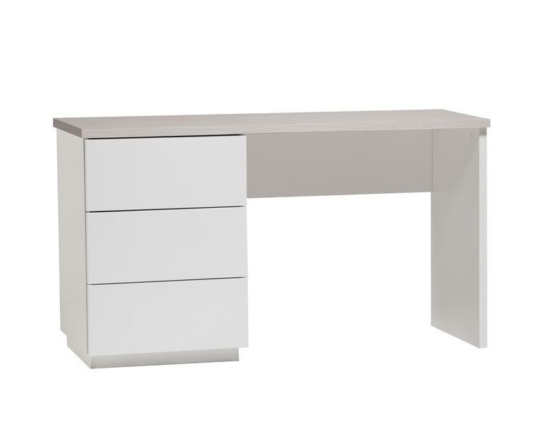 Anton työpöytä 130 cm laatikoilla, valkoinen/saarni