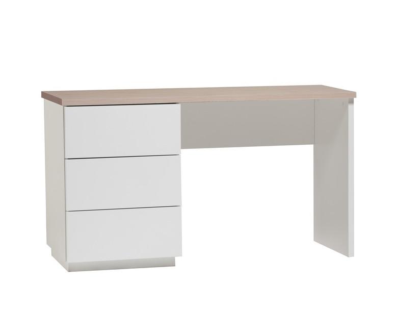 Anton työpöytä 130 cm laatikoilla, valkoinen/tammi