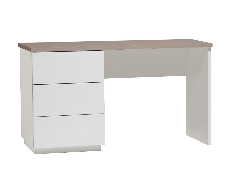 Anton työpöytä 130 cm laatikoilla vasen, valkoinen/tammi