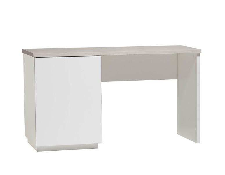 Anton työpöytä 130 cm ovella, valkoinen/saarni