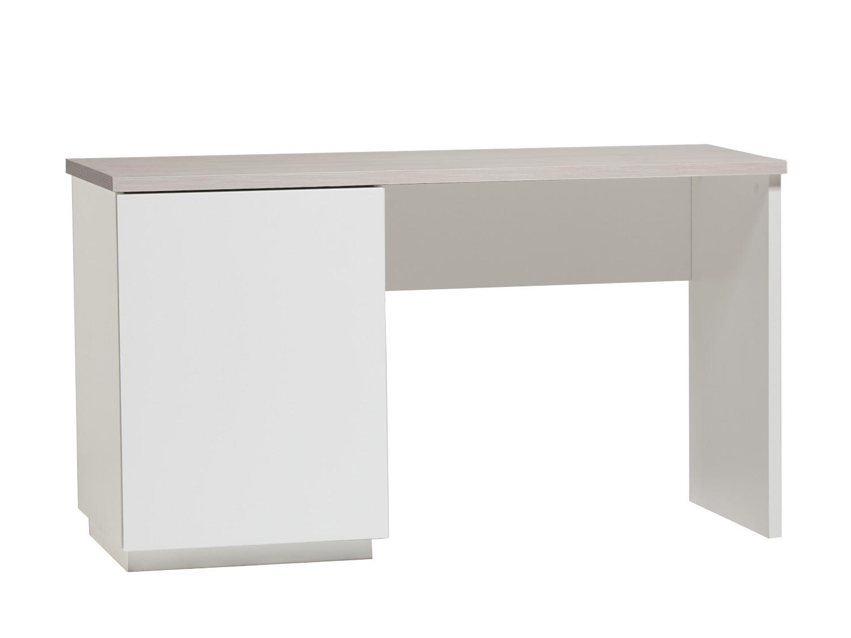 Anton työpöytä 130 cm ovella vasen, valkoinen/saarni