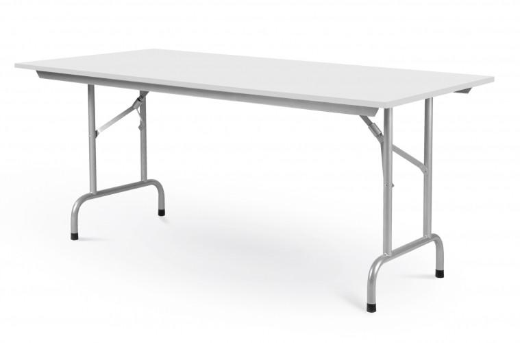 Rico pöytä 200x80cm valkoinen, harmaat taittuvat jal