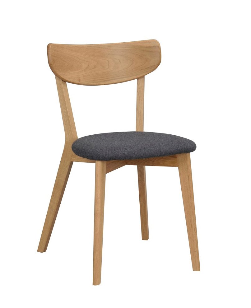 Ami tuoli lakattu tammi, istuin harmaa kangas, Rowico
