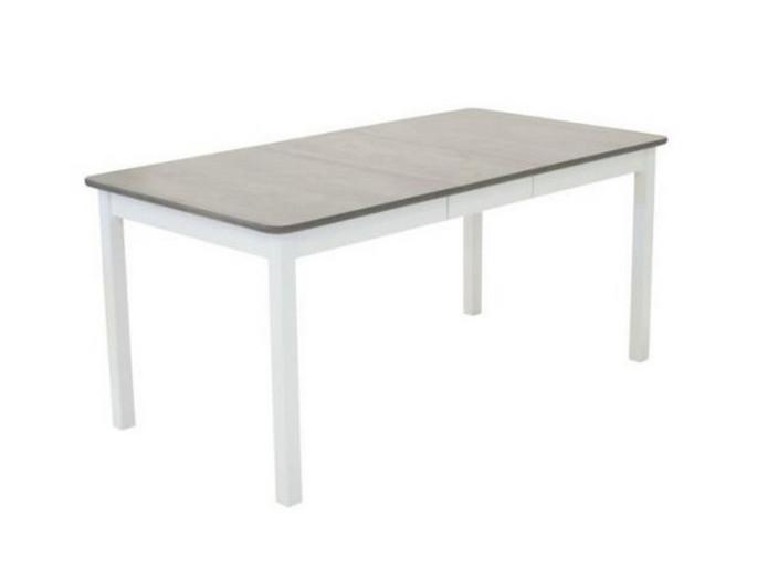 Sanna ruokapöytä 125x85+35cm valkoinen/harmaa