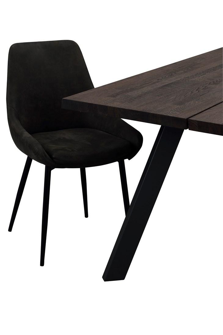 Sierra tuoli tummanharmaa tekstiilinahka / musta metalli, Rowico
