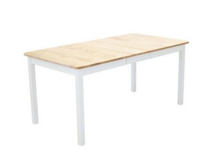Sanna ruokapöytä 125x85+35cm valkoinen/luonnonväri