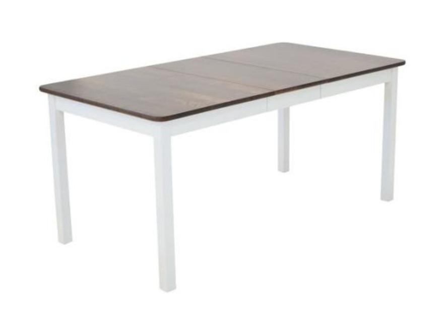 Sanna ruokapöytä 125x85+35cm valkoinen/pähkinä