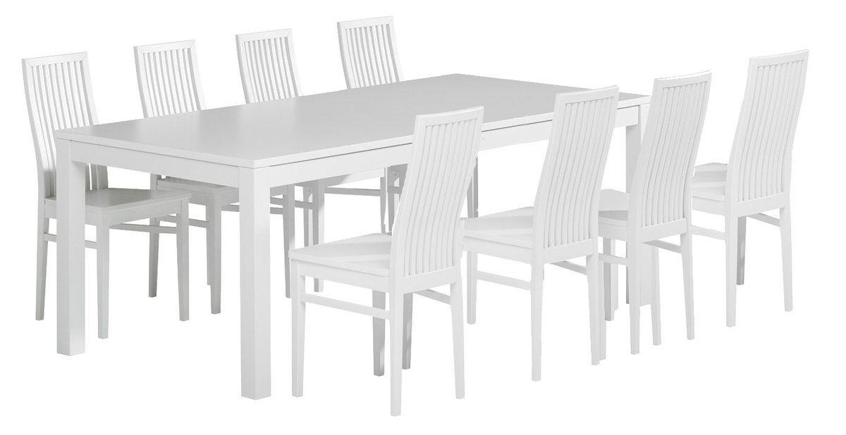 Julia pöytä 220x100 ja 8 tuolia puuistuin