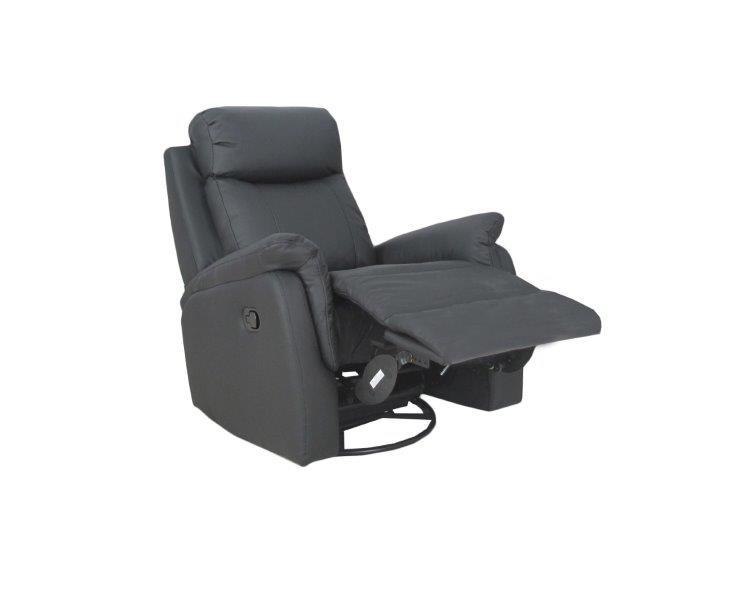 Rubin recliner tuoli, musta nahka/keinonahka, Tenstar