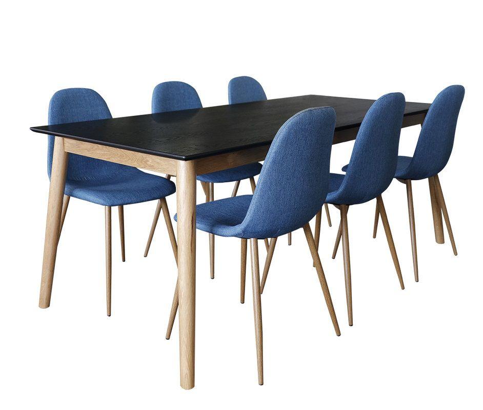 Eelis Ruokapöytä 190x90 ja 6 Isla-tuolia Tammi musta/luonnonväri