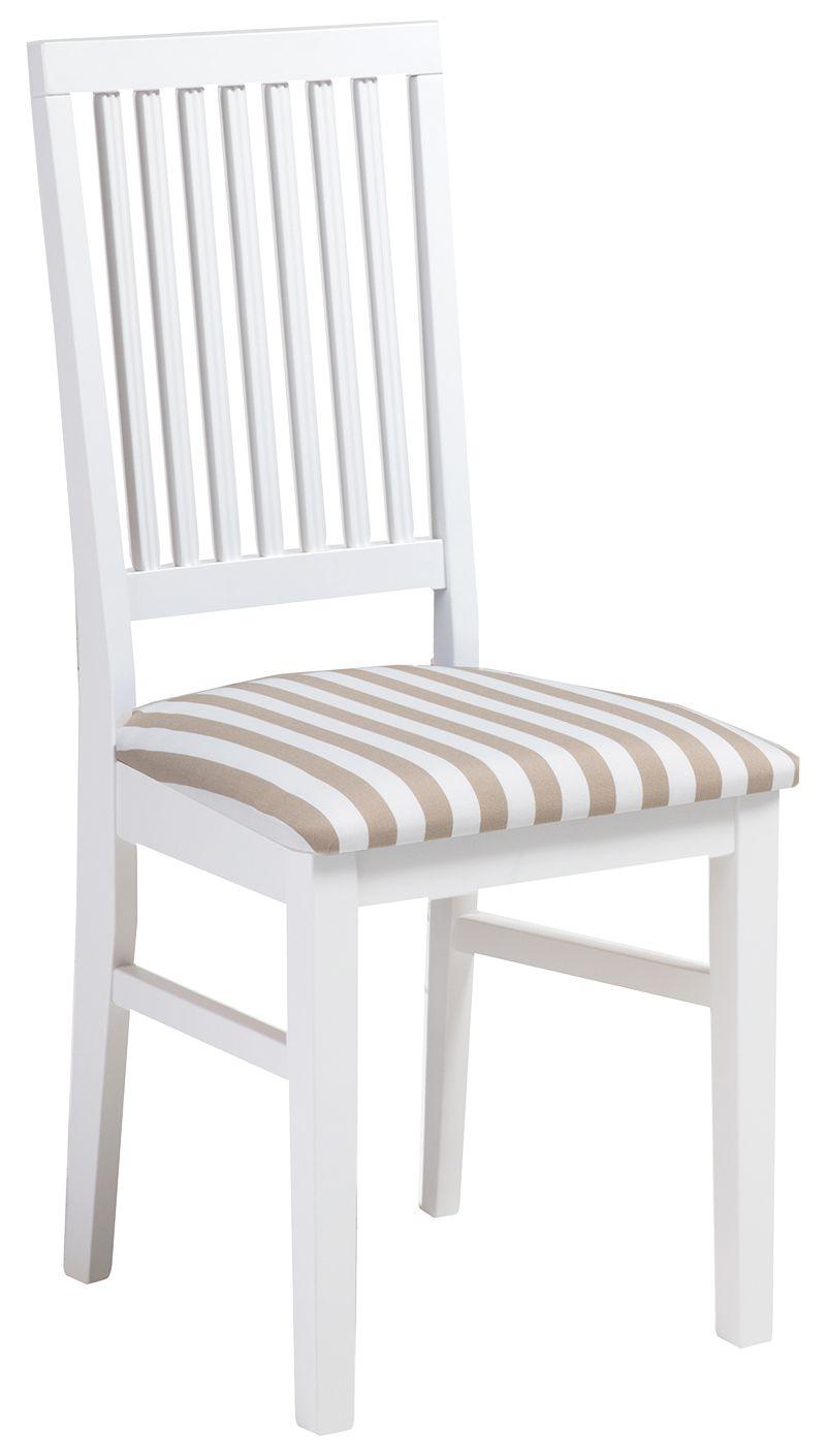 Ida tuoli valkoinen/beige leveä raita