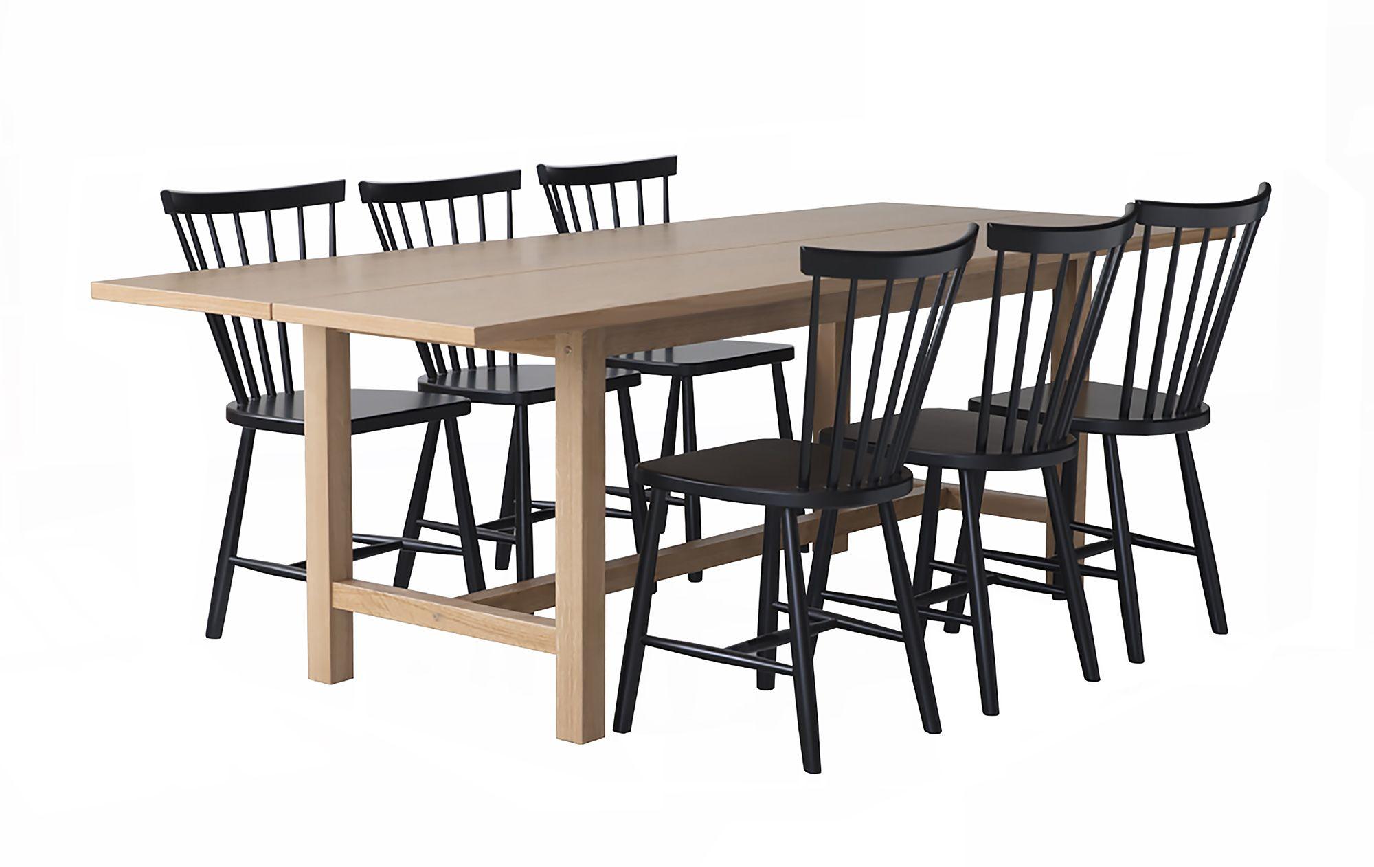Livia ruokapöytä 230x90 ja 6 Emilia pinnatuolia, tammen värinen pöytä ja mustat tuolit