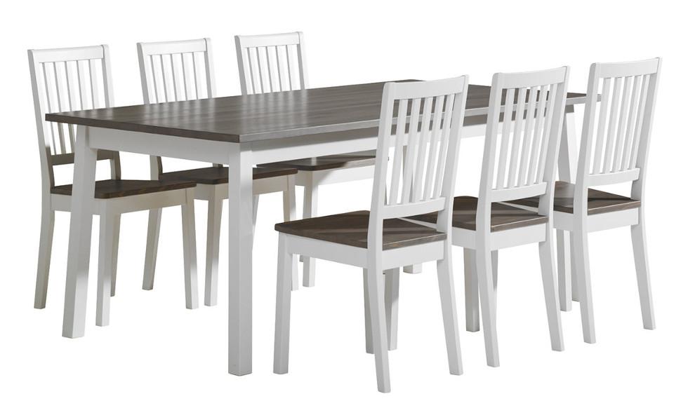 Sara pöytä 180x95 ja 6 pinnatuolia valkoinen/kuultoharmaa