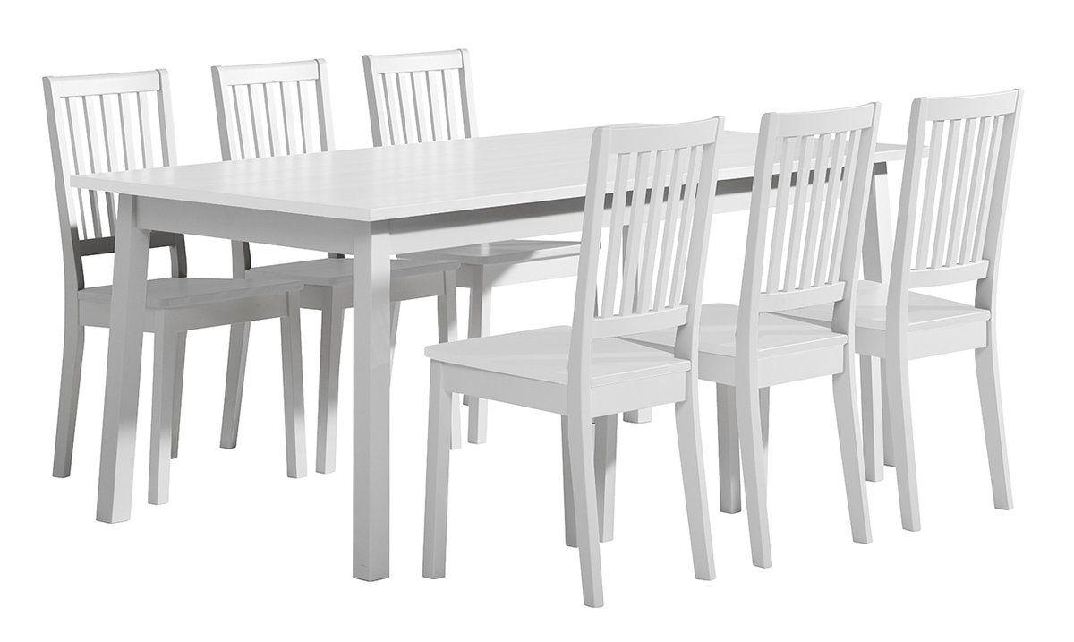 Sara pöytä 180x95 ja 6 pinnatuolia valkoinen